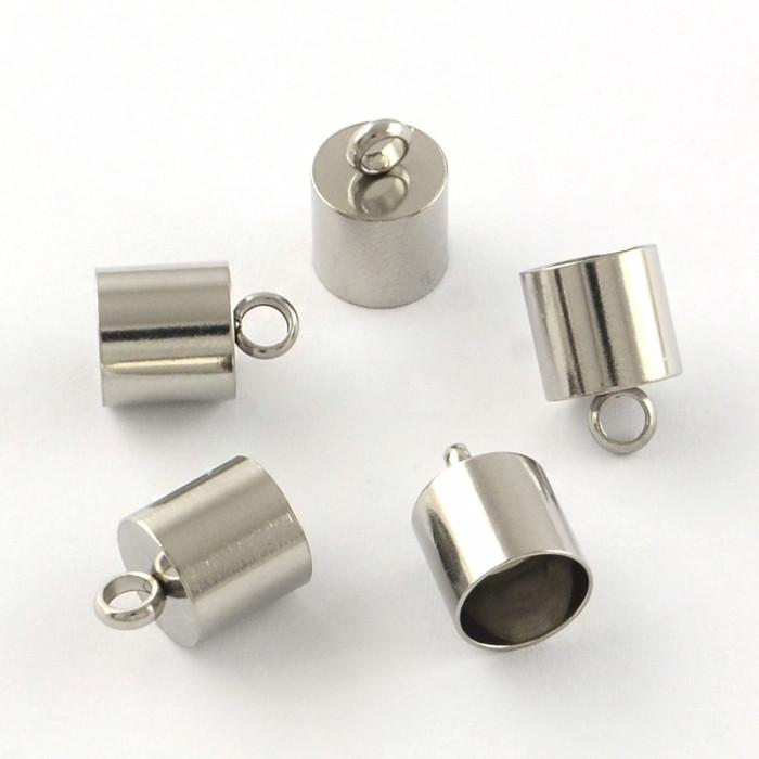 Концевики для Шнура, Нержавеющая Сталь, Размер: 12х8мм, Внутренний Диаметр 7мм, Отверстие 2.5мм/ Упак.: 2 шт