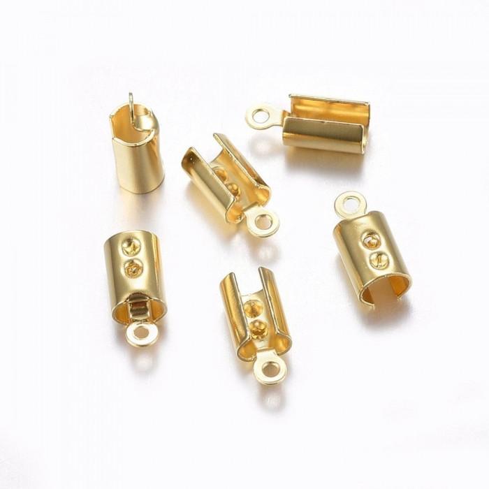 Концевики-зажимы для Шнура, Нержавеющая Сталь, Цет: Золото, Размер: 10x4.5x3.5мм, Отверстие 1мм/ Упак.: 10 шт
