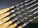 """Подарочный набор шампуров с деревянными ручками """"Щука"""" в кожаном колчане, фото 5"""
