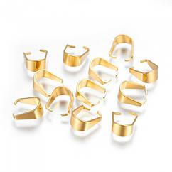Держатели для Подвесок, Нержавеющая Сталь, Цвет: Золото, Размер: 10х8.5х5мм, Внутрений 7.5мм (УТ100019166)