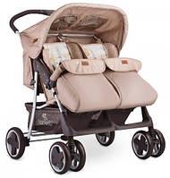 Детская прогулочная коляска для двойни  Lorelli TWIN (beige bear party)