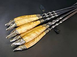 """Подарунковий набір шампурів з дерев'яними ручками """"Щука"""" в шкіряному сагайдаку"""
