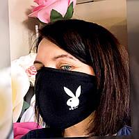 Маска на лицо защитная многоразовая с рисунком Зайка черная Хлопок