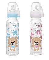 NIP Скляна пляшка 250 мл,(МІКС)соска ортодонтична,антиколікова,силікон (від 0-6)M(середній потік)