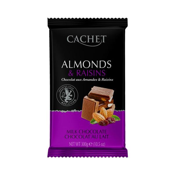 Шоколад Cachet №47 молочний з горіхами та родзинками, 300г, 12шт/ящ