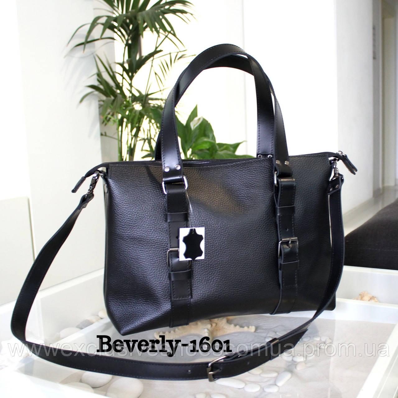 """Чоловіча шкіряна сумка """"Beverly"""" чорний флотар"""