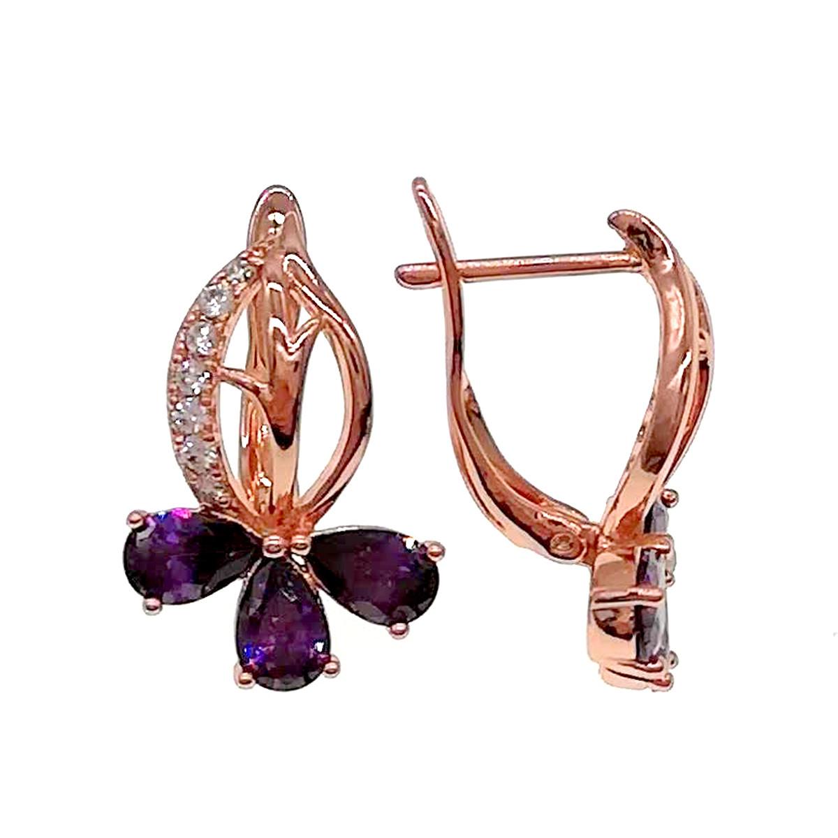 Сережки Xuping з медичного золота, фіолетові і білі фіаніти, позолота PO, 24209 (1)