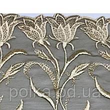 """Вышивка на сетке """"тюльпаны"""", ширина 28 см, цвет оливковый, Италия"""