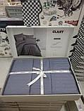 Комплект постельного белья Clasy Strip сатин однотонный Antrasit, фото 3