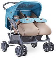 Детская прогулочная коляска для двойни  Lorelli TWIN (blue/beige moon bear)