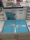 Комплект постельного белья Clasy Strip сатин однотонный Turkuaz, фото 3