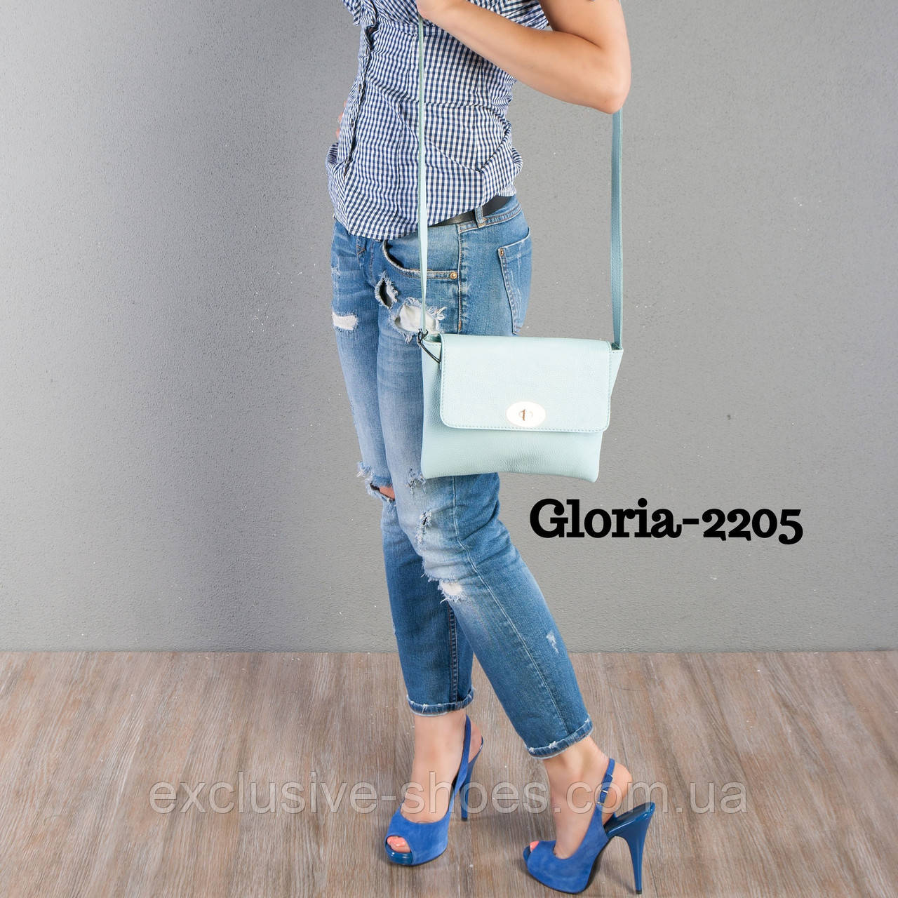 """Сумка жіноча шкіряна """"Gloria"""" блакитна"""