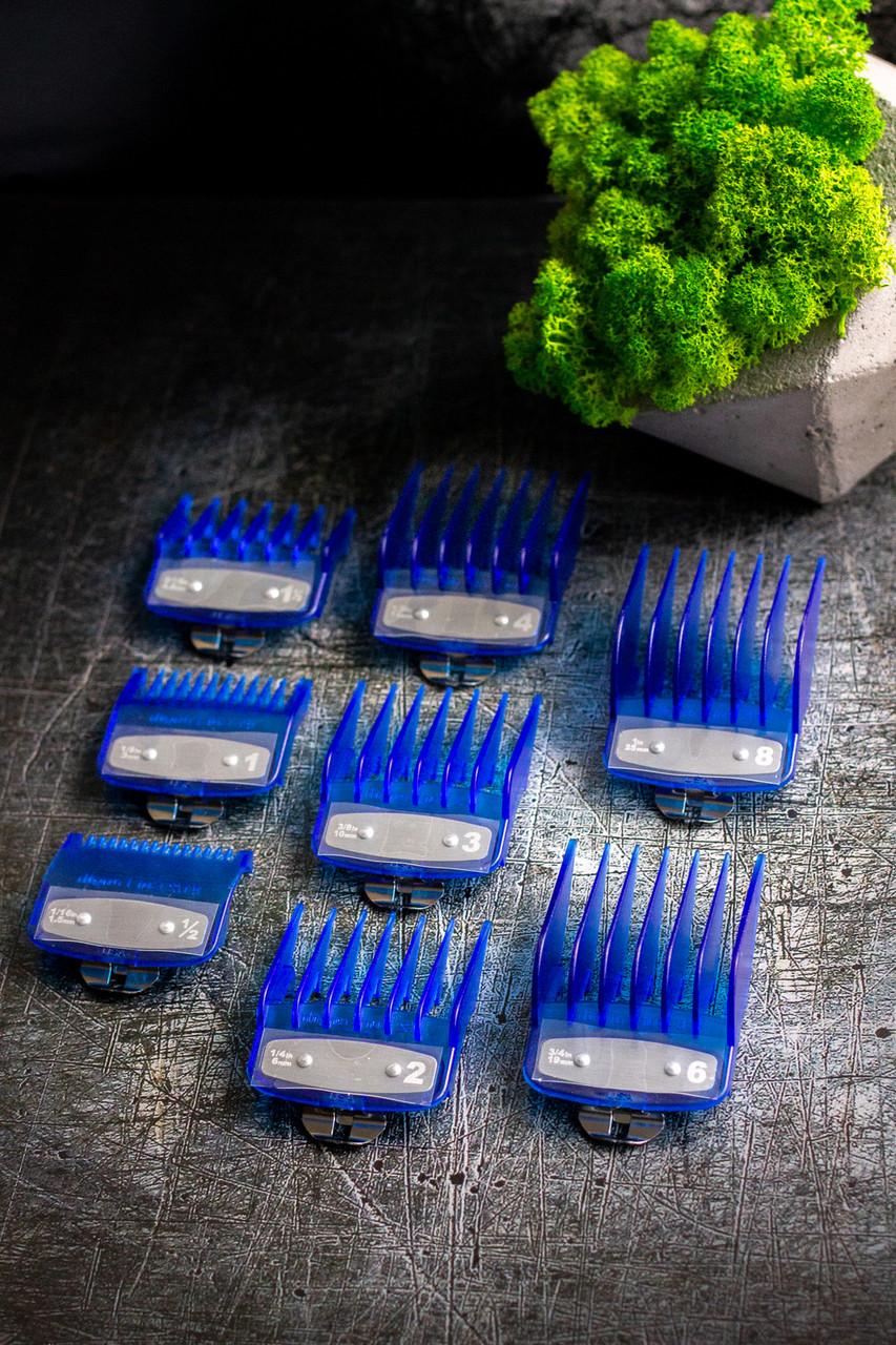 Набор полупрозрачных синих премиум насадок до машинок Wahl guard clear blue