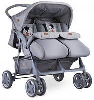 Детская прогулочная коляска для двойни  Lorelli TWIN (grey cool cat)