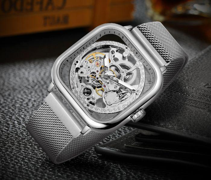 Forsining eagle II серебристые мужские механические часы скелетон