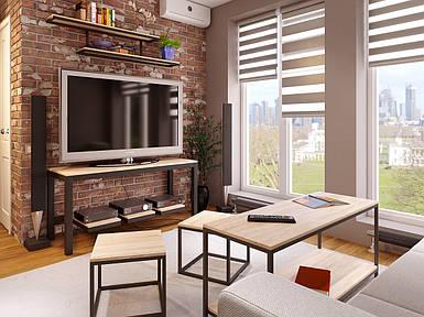 """Комплект для гостиной """"Uni Room 5"""" (журнальный стол, ТВ-тумба, 2 табурета, подвесная полка)  ТМ Метакам"""
