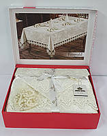 Скатертина Set Велюр Maison Royale 160x220+8 psc Emerald Cream