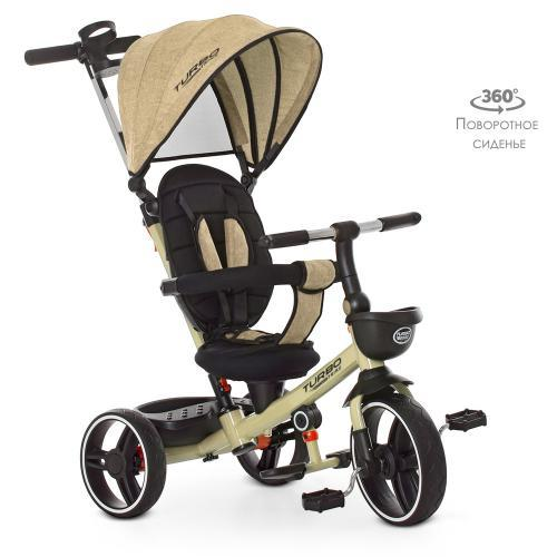 Велосипед-коляска детский трехколесный  Turbo Trike М 5447 PU-7 бежевый лен