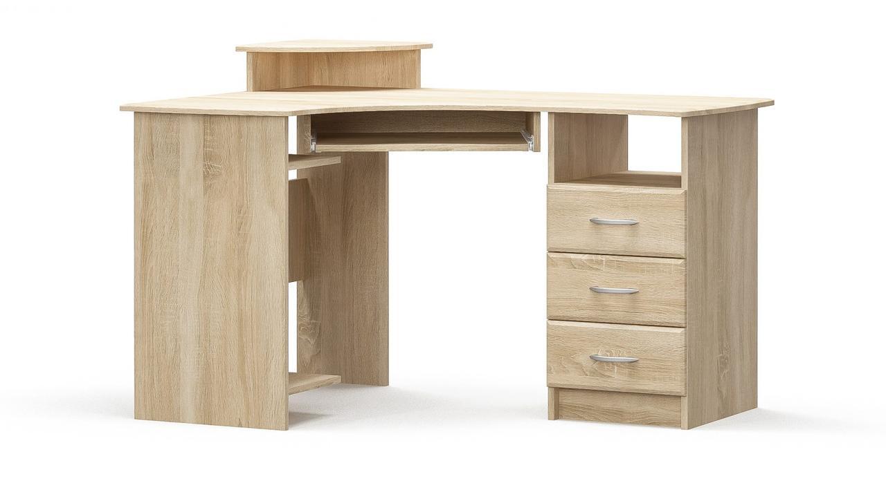 Стол письменный угловой левый/правый в детскую комнату/спальню из МДФ Дуб Самоа Мебель Сервис 1