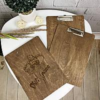 Деревянная планшетка под меню с логотипом, фото 1