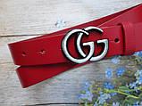 Женский узкий ремень Gucci пряжка хром 20776 красный, фото 2