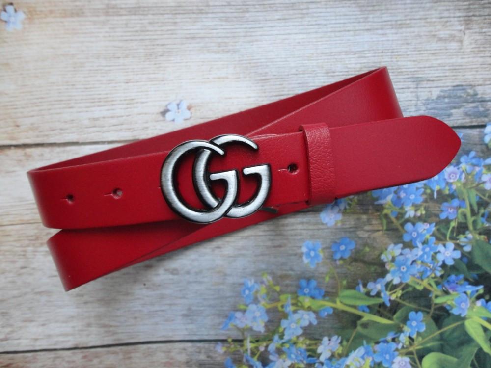 Женский узкий ремень Gucci пряжка хром 20776 красный