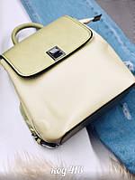 Небольшой рюкзак из эко-кожи салатного цвета, фото 1