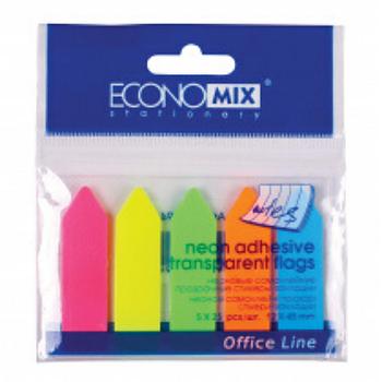 """Клейкие закладки """"Стрелки"""" 12х45 мм Economix, 125 шт., 5 неоновых цветов"""