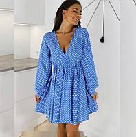 Платье женское в горошек 337 (42-44,46-48) (цвета: голубой, красный) СП, фото 1