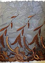 """Вышивка на  сетке односторонняя """"осенние лилии"""",ширина 28см, цвет  коричневый рыжий, Италия"""