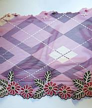 """Вышивка на  сетке """"барбери"""", ширина 17см, цвет розовый сиреневый с цветами, Италия"""
