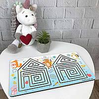 Цветная межполушарная доска-лабиринт из дерева для детского развития «Домик», фото 1