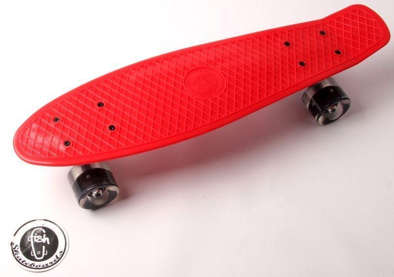 Скейтборд, Пенни борд Penny Board Fish Красный Светящиеся колеса до 85кг (SD)