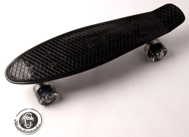 Скейтборд, Пенни борд Penny Board Fish Черный Светящиеся колеса 2 до 85кг (SD)