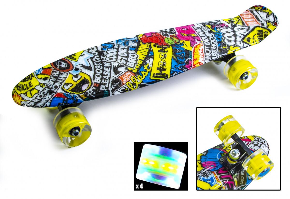 Скейтборд, Пенни борд Penny Board Inscription Светящиеся колеса до 80кг (SD)