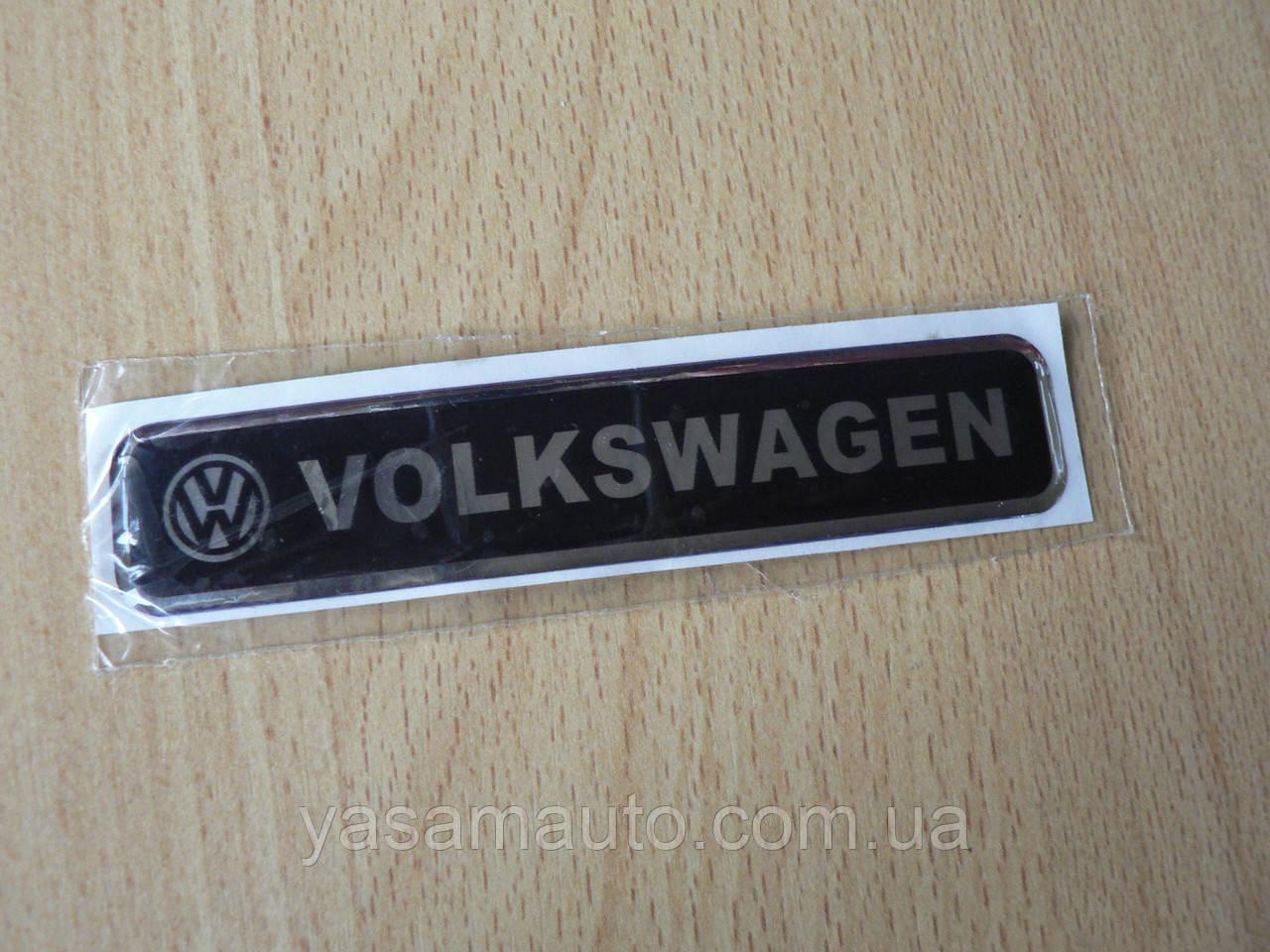Наклейка s надпись Volkswagen 100х20х1мм силиконовая Уценка на авто эмблема логотип Волксваген