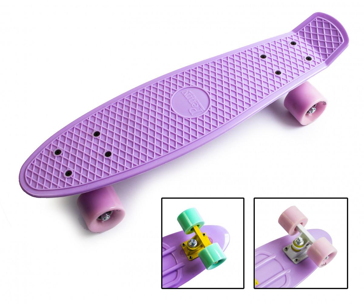 Скейтборд, Пенни борд Penny Board Pastel Series Лиловый Матовые колеса до 80кг (SD)