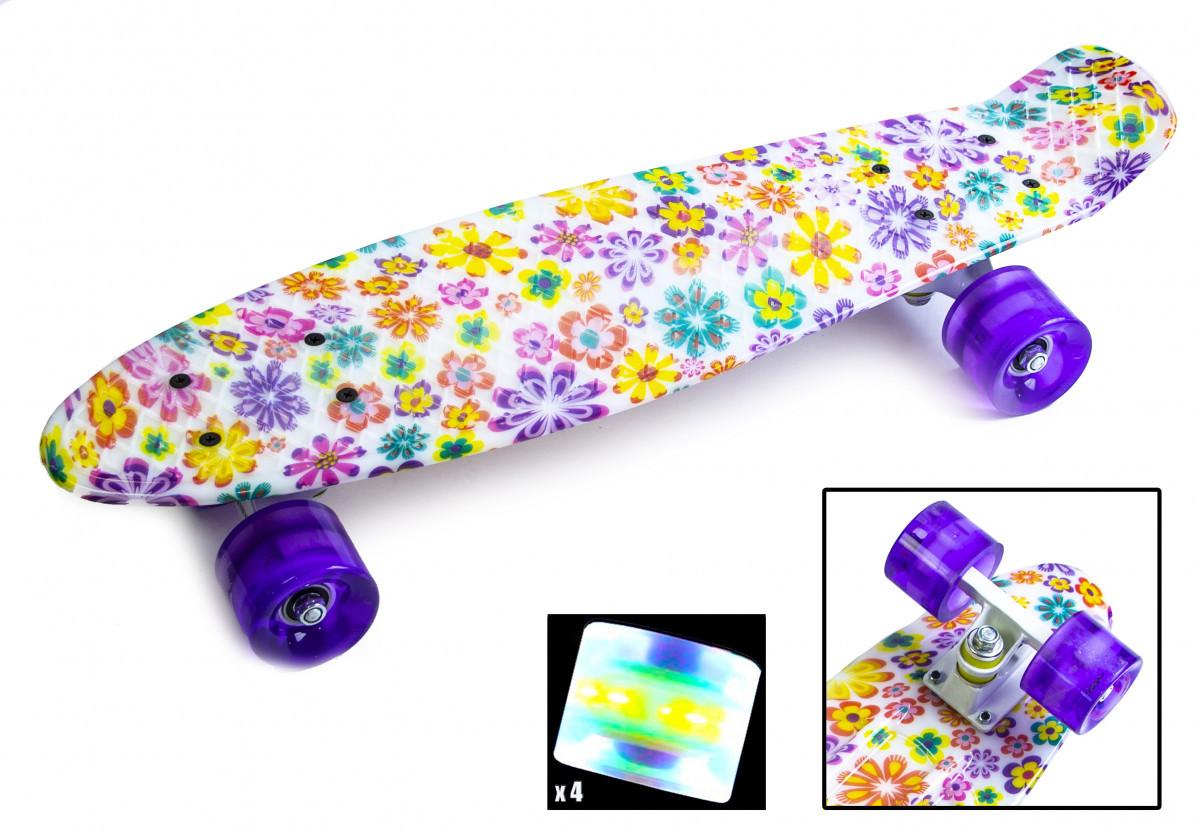 Скейтборд, Пенни борд Penny Board Violet Flowers Светящиеся колеса (SD)