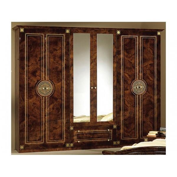 Шкаф с зеркалом распашной в спальню из ДСП Коричневый 6Д Рома Мебель Сервис