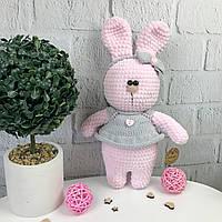 Мягкая вязаная игрушка ручной работы «Розовый зайчик», фото 1