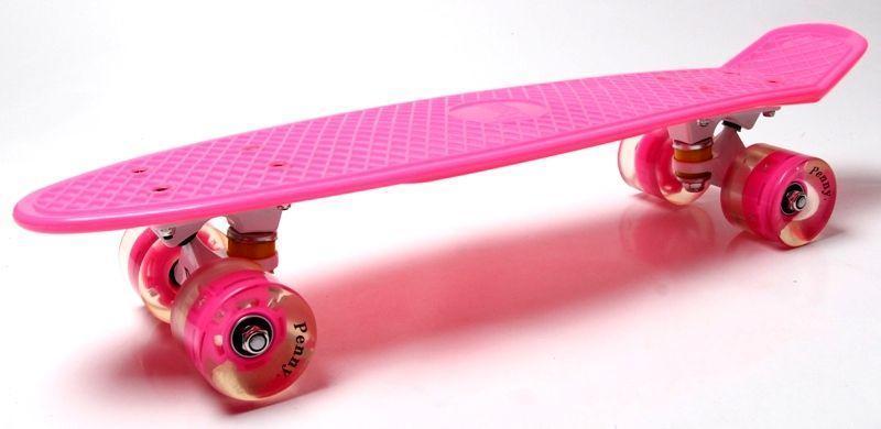 Скейтборд, Пенни борд Penny Board Розовый Светящиеся малиновые колеса (SD)