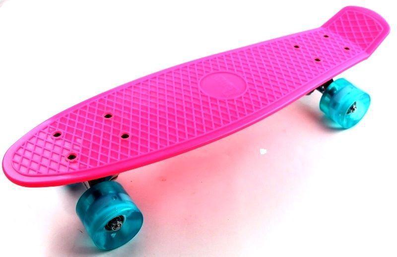 Скейтборд, Пенни борд Penny Boarde Pink Светящиеся бирюзовые колеса (SD)