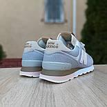 Женские кроссовки New Balance 574 замшевые серые рефлективные. Живое фото. Реплика, фото 5