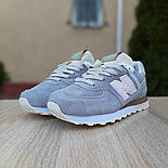 Женские кроссовки New Balance 574 замшевые серые рефлективные. Живое фото. Реплика, фото 4