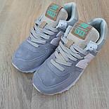 Женские кроссовки New Balance 574 замшевые серые рефлективные. Живое фото. Реплика, фото 7