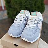Женские кроссовки New Balance 574 замшевые серые рефлективные. Живое фото. Реплика, фото 3