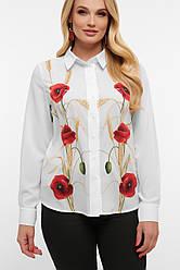 Батальная белая женская блузка с маками большие размеры