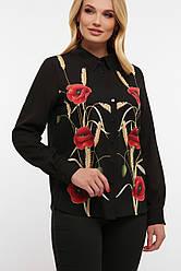 Черная блузка с маками длинный рукав большие размеры