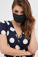 Защитная лицевая черная маска в горошек