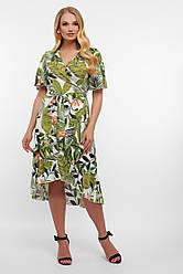Плаття з запахом і воланами на літо з тропічним принтом великі розміри